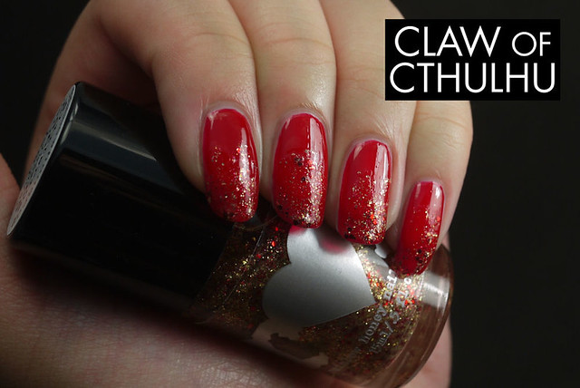 Fancy Nail Lacquer by Rainbow Honey Fancy Red Swatch (with Rainbow Honey Glittering Rapture)