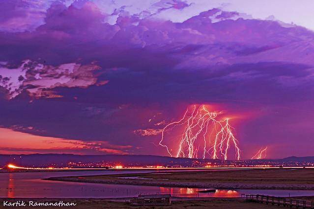 Skies light up as lightning strikes Bay Area