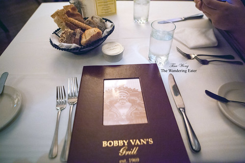 Bread basket and Bobby Van's Grill menu