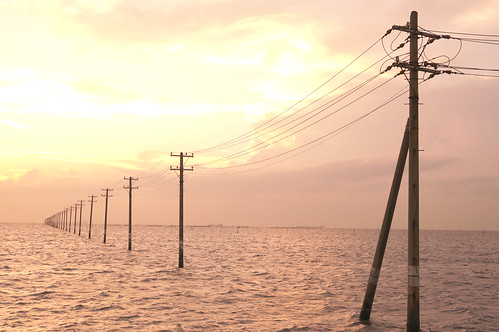 Retro Photo utility poles into the sea 08