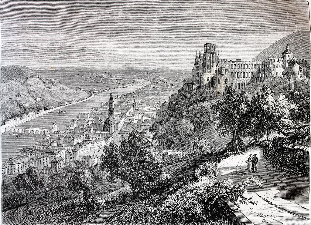 24. El Neckar, afluente del Rin, a su paso por la ciudad de Heidelberg. Grabado de Jouvet Furne. 1873-77. Autor, El Bibliomata