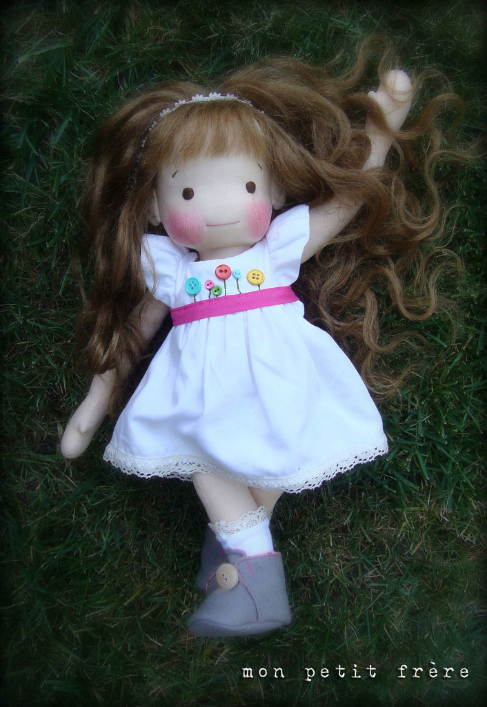 "Piper- a 16"" natural fiber doll"