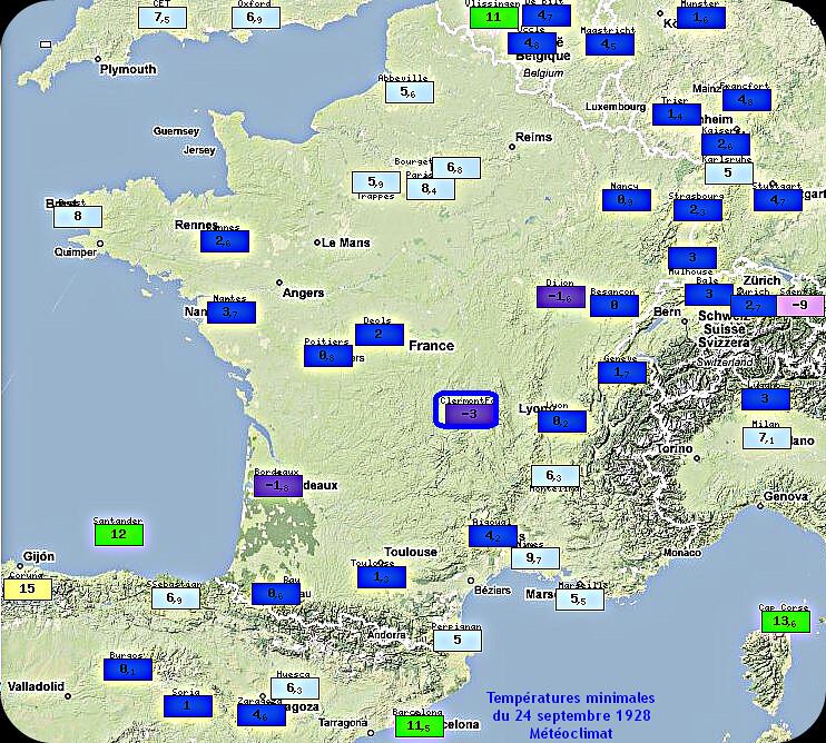 températures minimales, records de froid et gelées du 24 septembre 1928 météopassion