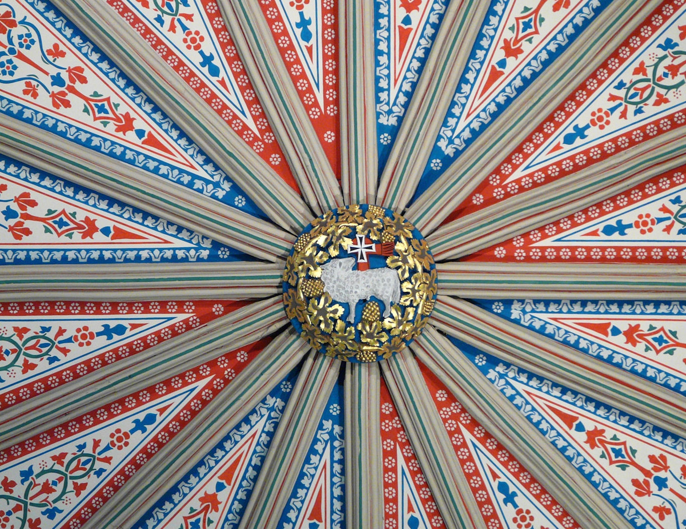The central boss on the Gothic vault above the Chapter House