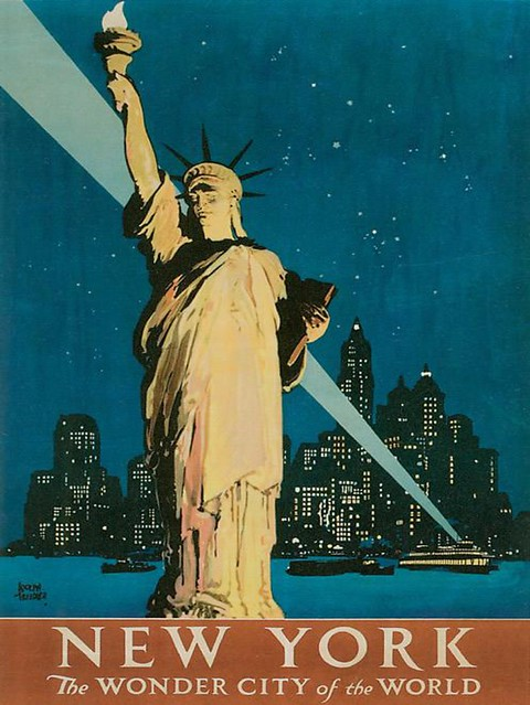 vintage new york poster print with statue of liberty. Black Bedroom Furniture Sets. Home Design Ideas