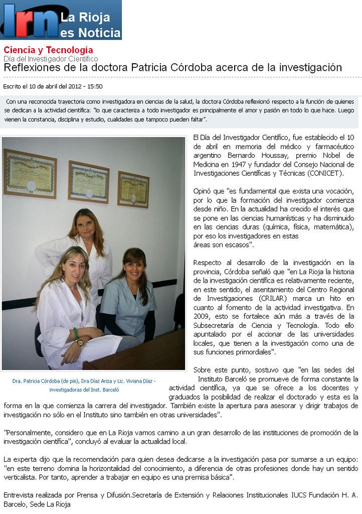 La Rioja es noticias - Reflexiones de la Dra. Córdoba - 10.4.12