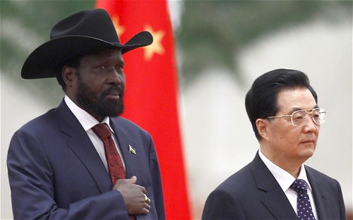 Presidents Silva Kiir of the Republic of South Sudan and Hu Jintao of the People's Republic of China in Beijing during an official visit by the newly-independent African state. Kiir left the country early as a result of escalating warfare with Sudan. by Pan-African News Wire File Photos