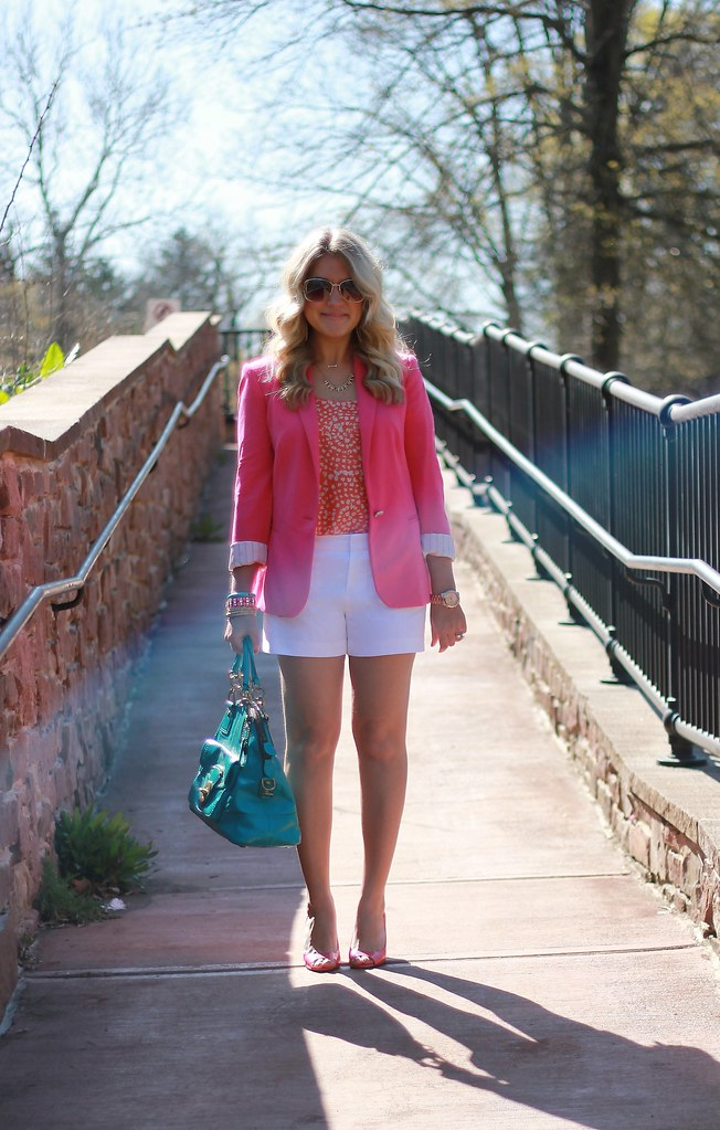 pink blazer and white shorts outfit
