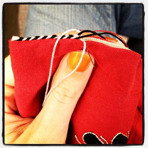 Sewing up the sides of the eagle pouch.