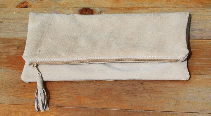 Handgemaakte fold-over clutch