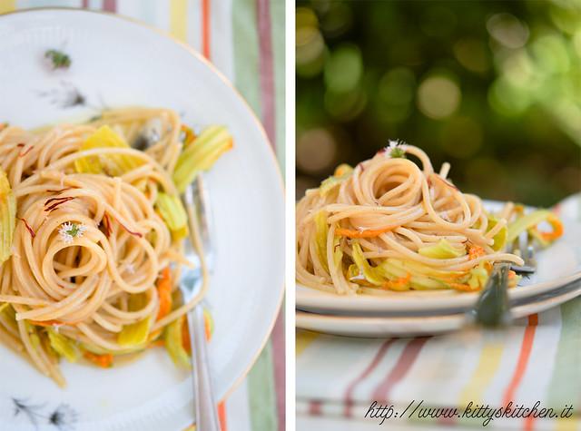 Spaghetti con fiori, zafferano e rosmarino2