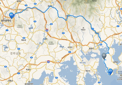 Gwangju to Namhae cycle route