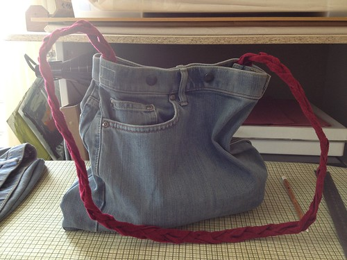 Jeans bag (I just made). It's got a sketch kit in it.