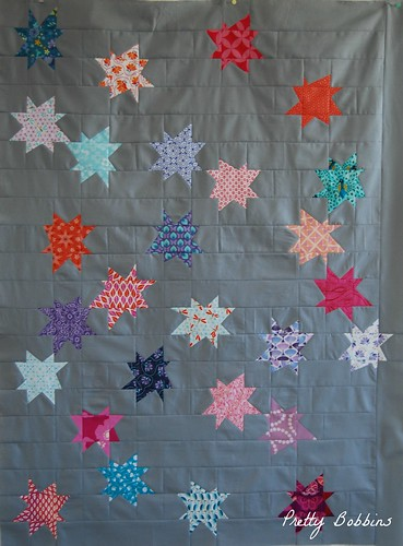 wonky stars pieced section wip