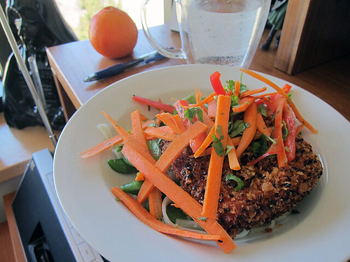 White plate with a big slab of nut-crusted tofu topped with sliced carrots.