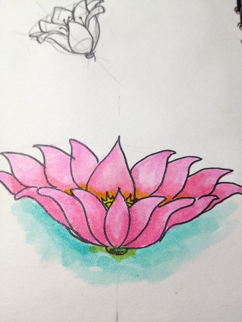 lotus, painted