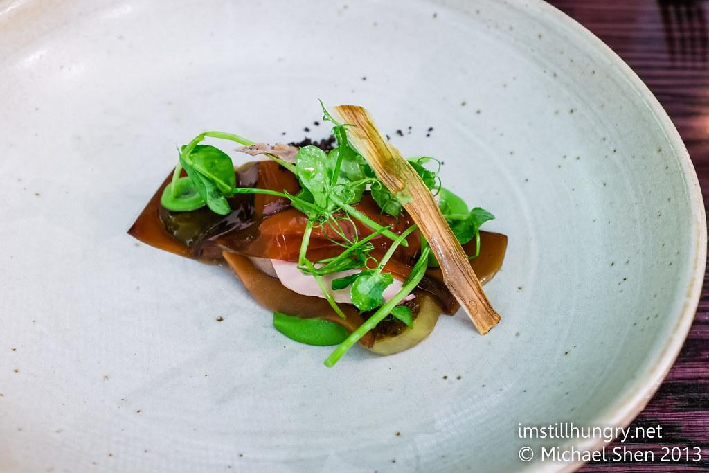 Bentley's Roasted quail w/mushroom custard, peas & mint