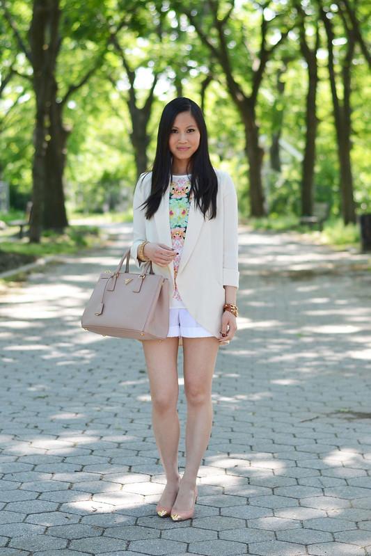 white long blazer & shorts