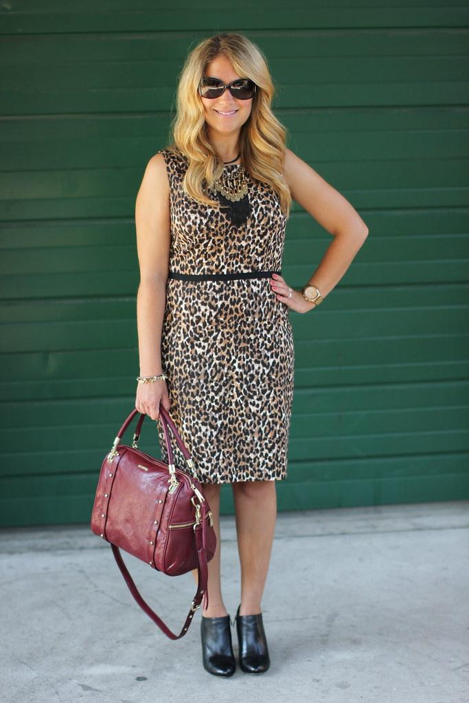 Loft Leopard Print Grosgrain Waist Sheath Dress Animal Print Dress