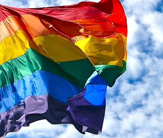 Waving Rainbow Peace Warrior Flag San Francisco 2012: Rainbow Flag On A Sunny Day