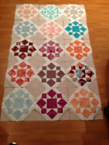 Half my blocks. All of them (30) are pieced. My design floor won't fit them all. by aviva_hadas (Amy)