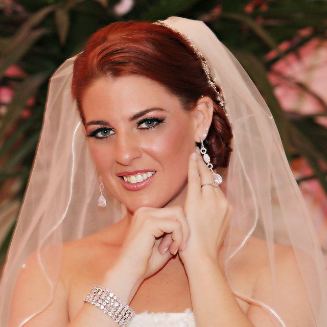 red headed bride, CZ chandelier bridal earrings, wide glam bridal bracelet