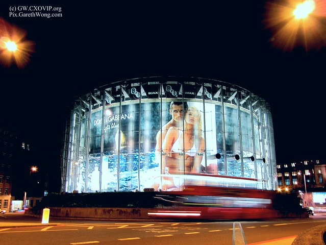 Dolce & Gabbana advert (models with swimsuit) on The BFI Imax London, UK at night IMG_3426 by Canon powershot sx230 HS