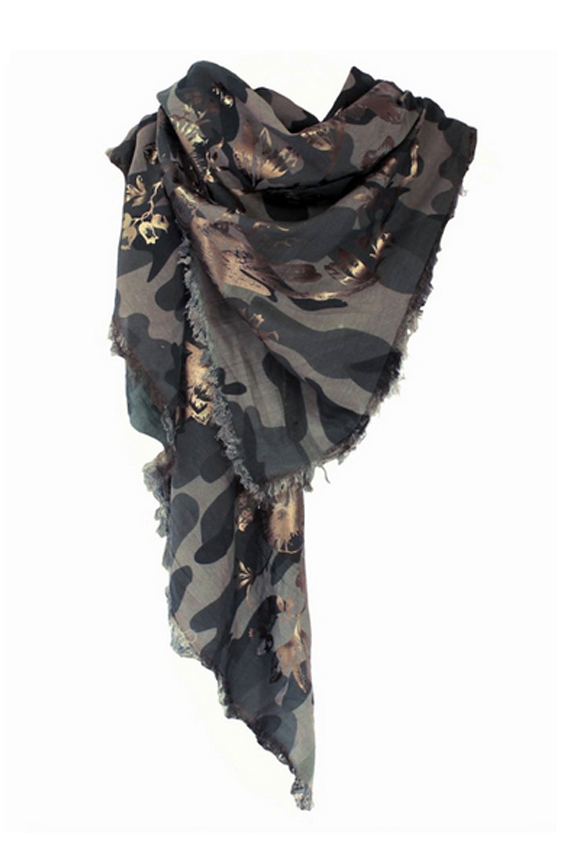 Bird Toile Silk Camouflage Square Scarf
