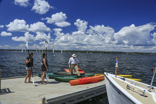 Kayaks on Spruce Point Inn dock