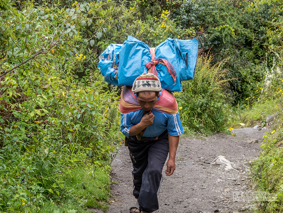 Our incredible team of porters keep charging on ahead.