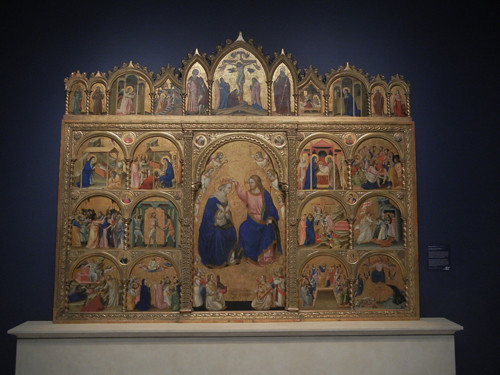 DSCN7700 _ Coronation of the Virgin Altarpiece, 1344, Guariento di Arpo ( c. 1310 -c.1370), Norton Simon Museum, July 2013