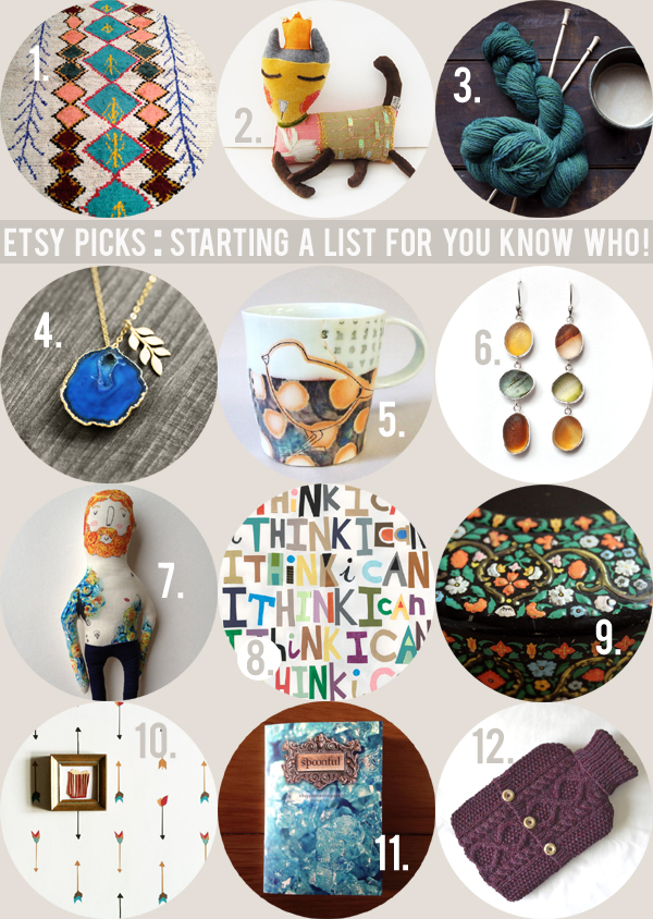 etsy picks : starting a list for you know who! / curated by Emma Lamb