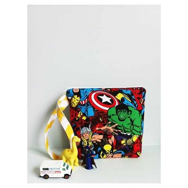 Super hero toy tote | 8x8 inches | $28 | ONE available
