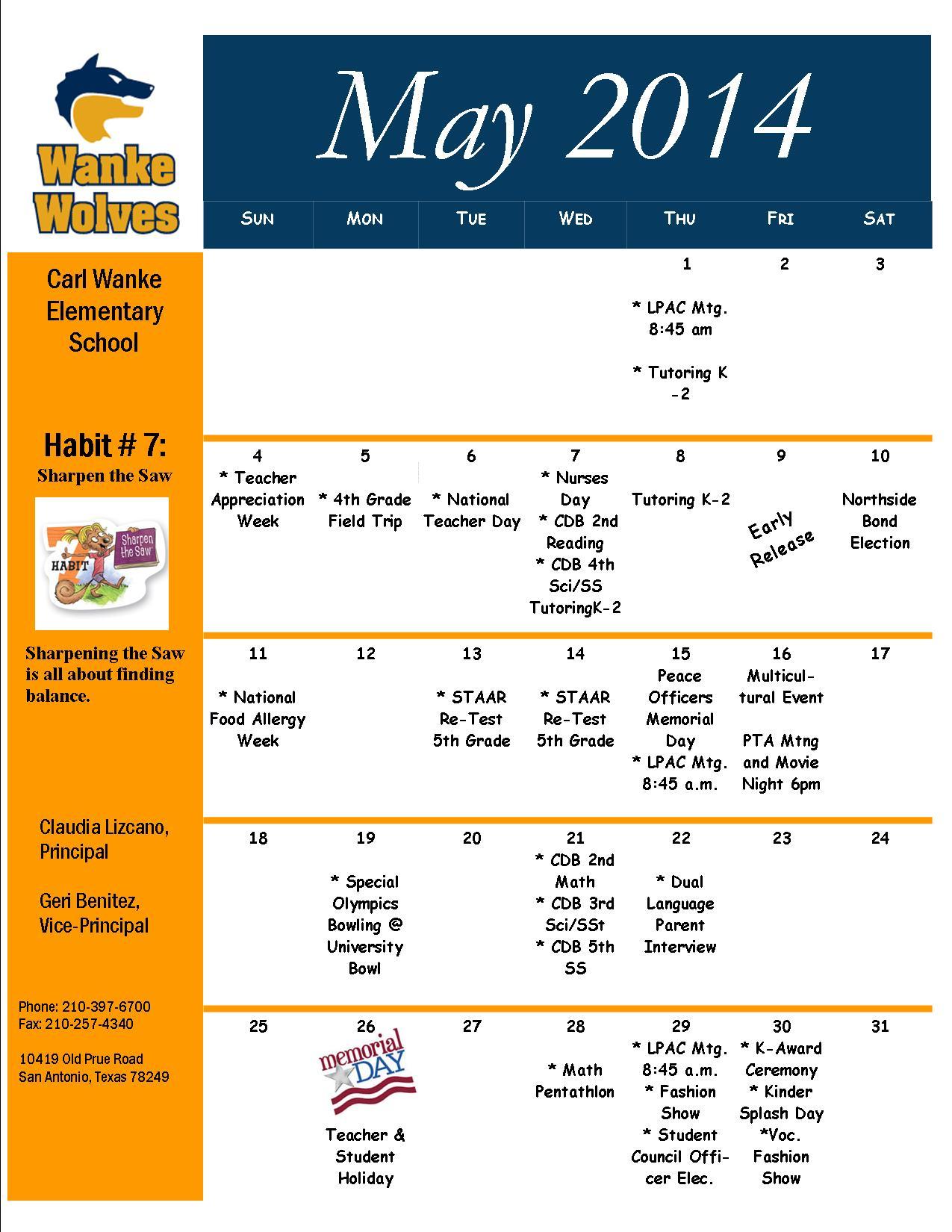 Parents Calendar MAY