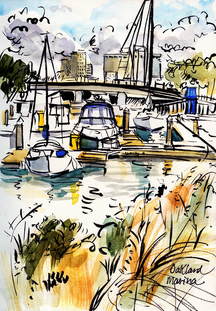 Bay Area sketches: Oakland marina
