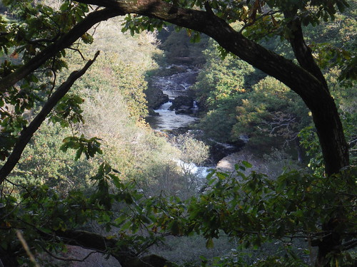 Rapids on the Afon Tawe from a steep cliff
