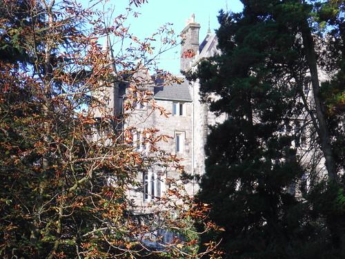 Craig y Nos Castle through trees