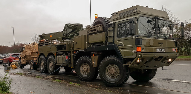 British Army MAN Wrecker attending to poorly Foxhound (front brakes issue)