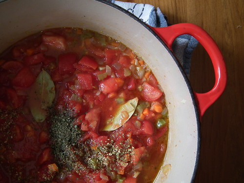 spaghetti sauce prep