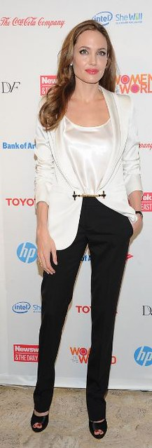 Angelina Jolie White Blazer Celebrity Style Fashion
