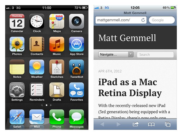 iOS on iPhone - Home screen and Safari