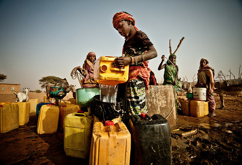 Drawing water from a well in the community of Natriguel, Mauritania