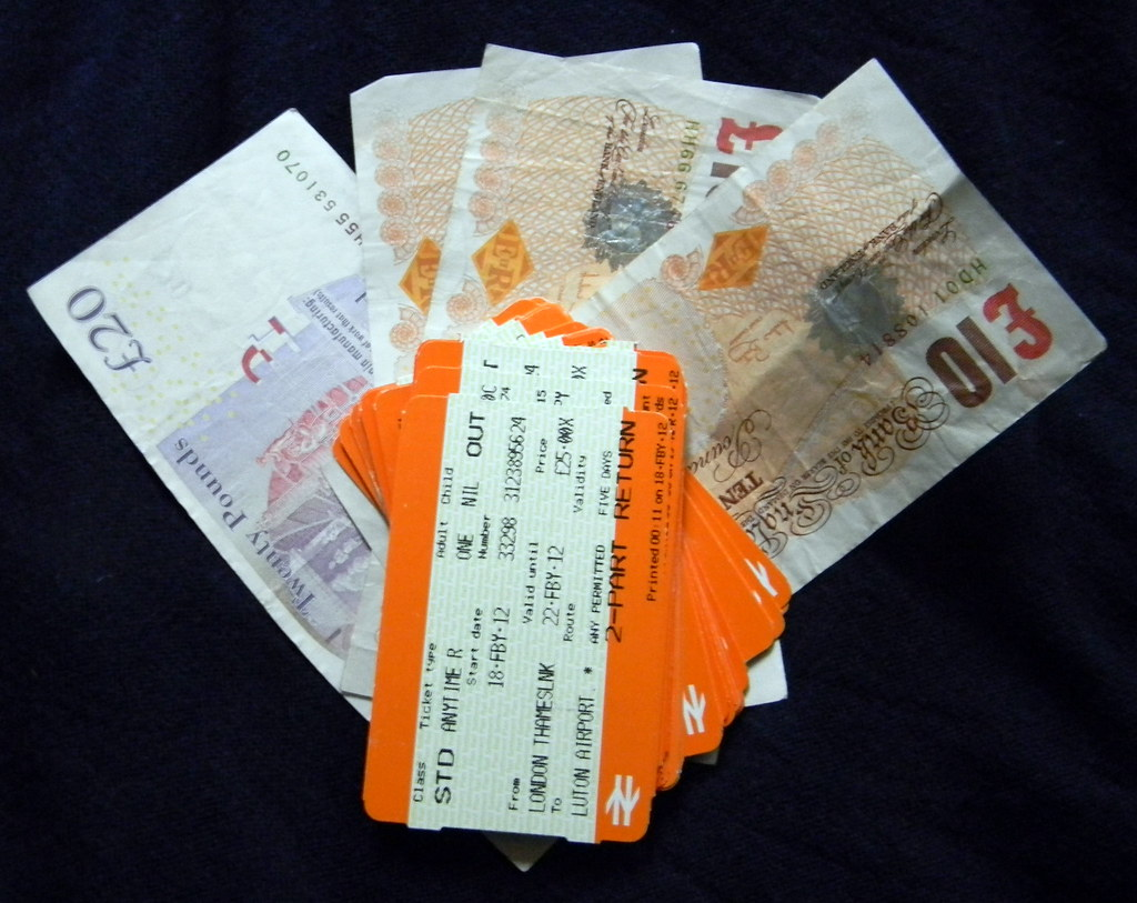Expensive train tickets pile british cash twenty ten pound notes 20th May 2012 12:56.21pm