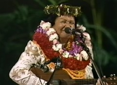 Old lady with leis