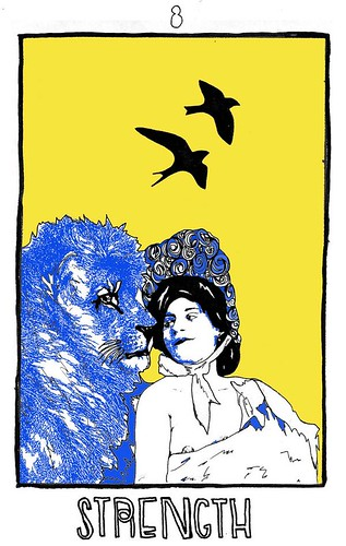 The strength card, which features an illustration of a woman from the Victorian era side by side with a lion. They are blue against a bright yellow background.