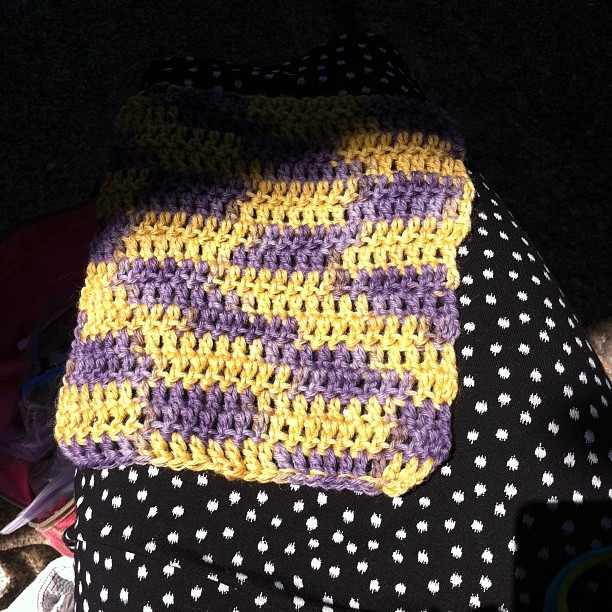 Purple and mustard square for knit in public day!