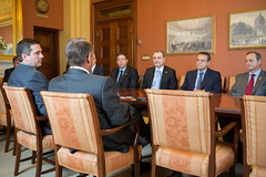 Speaker John Boehner and Rep. Devin Nunes (R-CA) meet with Henrique Eduardo Alves, President of the Chamber of Deputies of Brazil, and his delegation at the U.S. Capitol. May 21, 2013. (Official Photo by Bryant Avondoglio)  --- This official Speaker of the House photograph is being made available only for publication by news organizations and/or for personal use printing by the subject(s) of the photograph. The photograph may not be manipulated in any way and may not be used in commercial or political materials, advertisements, emails, products, promotions that in any way suggests approval or endorsement of the Speaker of the House or any Member of Congress.