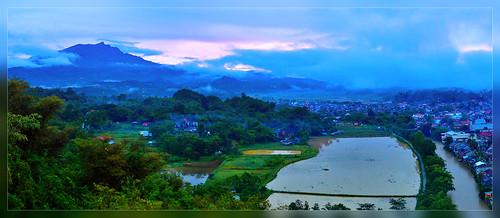 travel blue mountain green tourism fog sunrise river indonesia town village south magenta dew ricefield sulawesi toraja rantepao