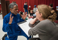 André De Shields (King Louie) and Adaptor/Director Mary Zimmerman in rehearsal for the world-premiere musical adaptation of THE JUNGLE BOOK. Photo: Liz Lauren