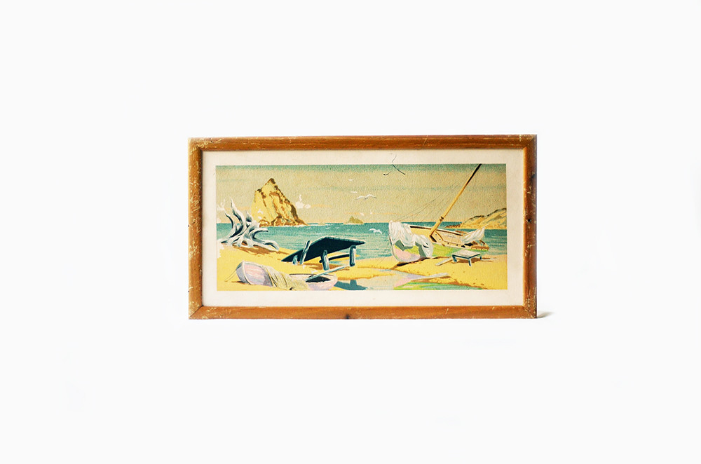 Vintage Econolite Silk Screen Beach Scene